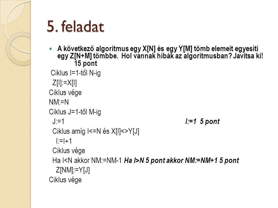 5. feladat A következő algoritmus egy X[N] és egy Y[M] tömb elemeit egyesíti egy Z[N+M] tömbbe.