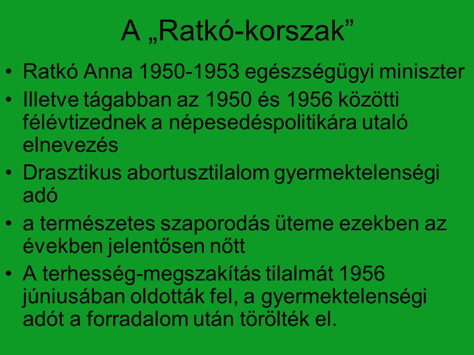 """A """"Ratkó-korszak"""" Ratkó Anna 1950-1953 egészségügyi miniszter Illetve tágabban az 1950 és 1956 közötti félévtizednek a népesedéspolitikára utaló elnev"""