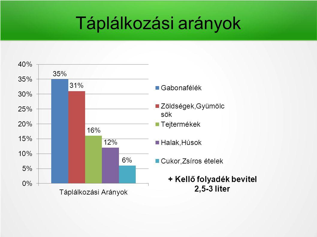 Táplálkozási arányok + Kellő folyadék bevitel 2,5-3 liter