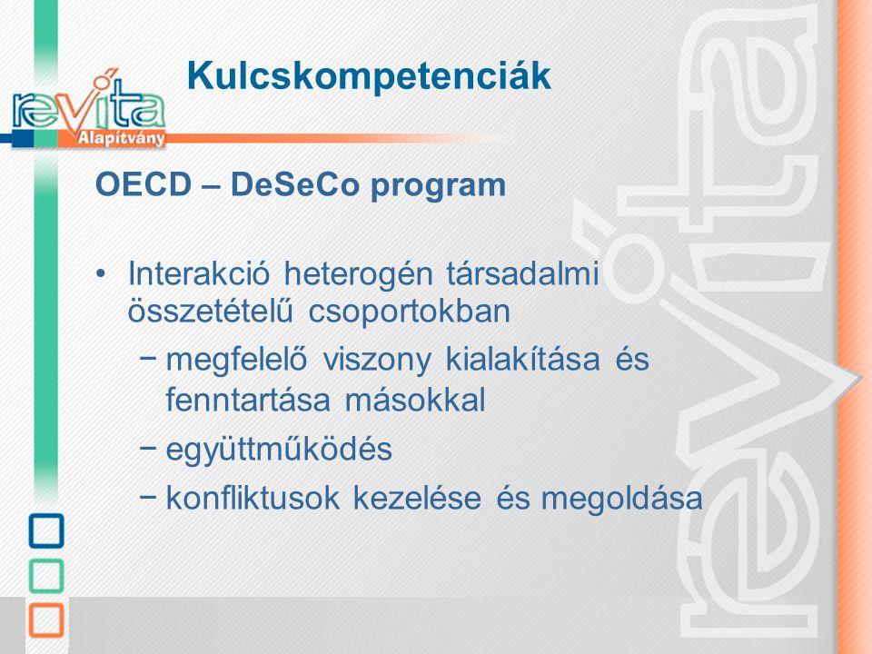 Kulcskompetenciák OECD – DeSeCo program Autonóm cselekvés –az átfogó szemléletű vagy a széles összefüggéseket szem előtt tartó cselekvés –élettervek és személyes elképzelések kialakítása és megvalósítása –a saját jogok, érdekek, korlátok és szükségletek hangoztatása és érvényre juttatása