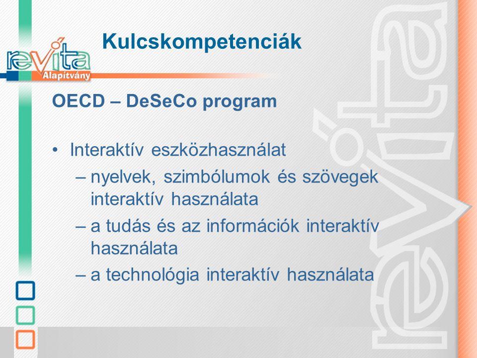 Kulcskompetenciák OECD – DeSeCo program Interaktív eszközhasználat –nyelvek, szimbólumok és szövegek interaktív használata –a tudás és az információk