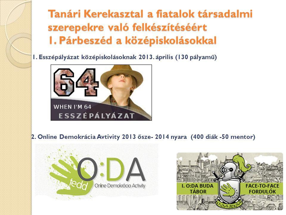 Tanári Kerekasztal a fiatalok társadalmi szerepekre való felkészítéséért 1. Párbeszéd a középiskolásokkal 1. Esszépályázat középiskolásoknak 2013. ápr