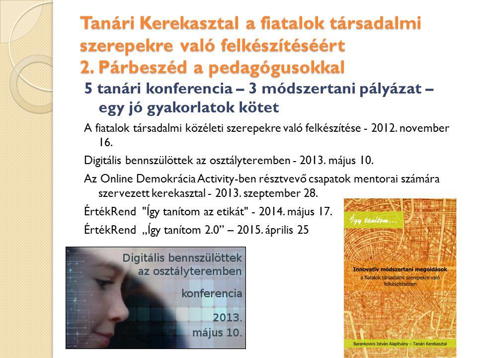 Tanári Kerekasztal a fiatalok társadalmi szerepekre való felkészítéséért 2. Párbeszéd a pedagógusokkal 5 tanári konferencia – 3 módszertani pályázat –