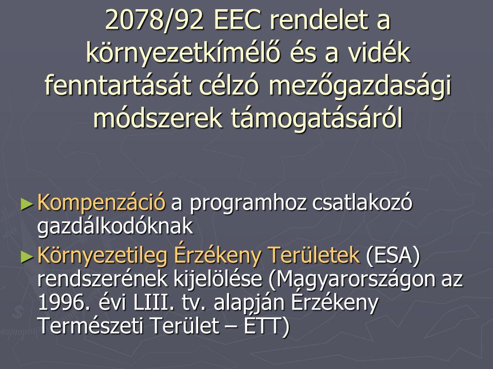 2078/92 EEC rendelet a környezetkímélő és a vidék fenntartását célzó mezőgazdasági módszerek támogatásáról ► Kompenzáció a programhoz csatlakozó gazdá