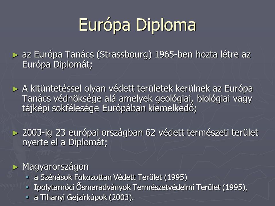 Európa Diploma ► az Európa Tanács (Strassbourg) 1965-ben hozta létre az Európa Diplomát; ► A kitüntetéssel olyan védett területek kerülnek az Európa T