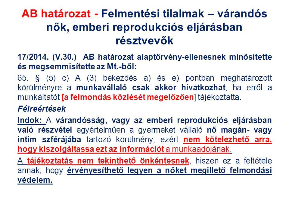 AB határozat - Felmentési tilalmak – várandós nők, emberi reprodukciós eljárásban résztvevők 17/2014. (V.30.) AB határozat alaptörvény-ellenesnek minő