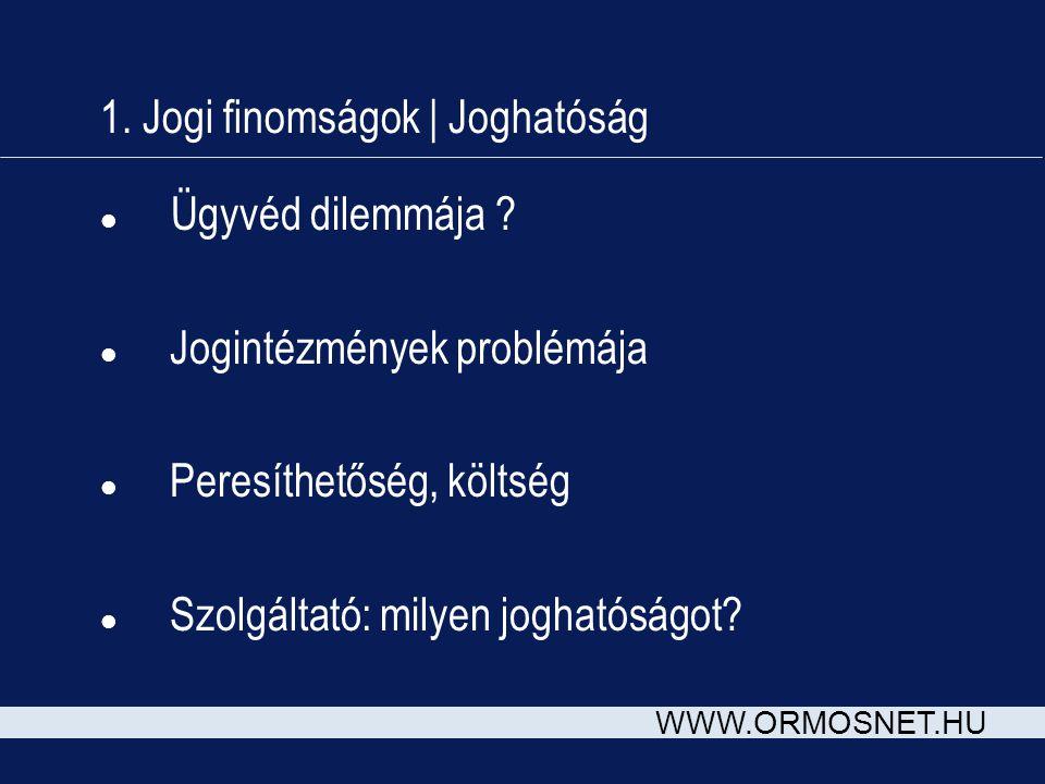 WWW.ORMOSNET.HU 1. Jogi finomságok | Joghatóság l Ügyvéd dilemmája .