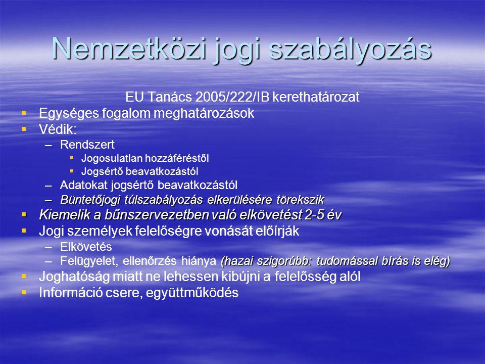 Nemzetközi jogi szabályozás EU Tanács 2005/222/IB kerethatározat   Egységes fogalom meghatározások   Védik: – –Rendszert   Jogosulatlan hozzáféréstől   Jogsértő beavatkozástól – –Adatokat jogsértő beavatkozástól –Büntetőjogi túlszabályozás elkerülésére törekszik  Kiemelik a bűnszervezetben való elkövetést 2-5 év   Jogi személyek felelőségre vonását előírják – –Elkövetés –(hazai szigorúbb: tudomással bírás is elég) –Felügyelet, ellenőrzés hiánya (hazai szigorúbb: tudomással bírás is elég)   Joghatóság miatt ne lehessen kibújni a felelősség alól   Információ csere, együttműködés