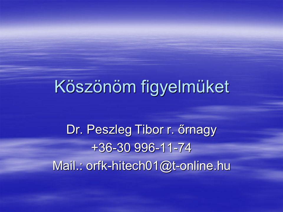 Köszönöm figyelmüket Dr. Peszleg Tibor r. őrnagy +36-30 996-11-74 Mail.: orfk-hitech01@t-online.hu