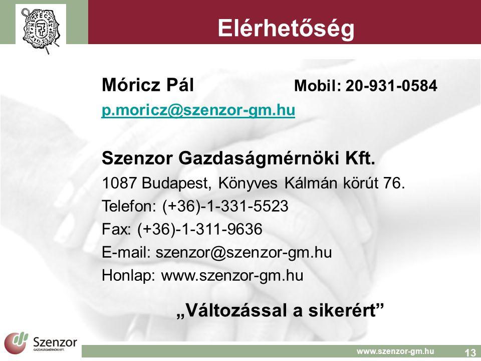 13 www.szenzor-gm.hu Elérhetőség Móricz Pál Mobil: 20-931-0584 p.moricz@szenzor-gm.hu Szenzor Gazdaságmérnöki Kft. 1087 Budapest, Könyves Kálmán körút