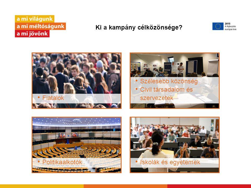 Ki a kampány célközönsége? Fiatalok Politikaalkotók Szélesebb közönség Civil társadalom és szervezetek Iskolák és egyetemek