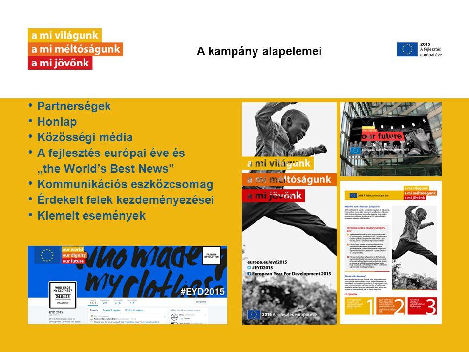 """Partnerségek Honlap Közösségi média A fejlesztés európai éve és """"the World's Best News Kommunikációs eszközcsomag Érdekelt felek kezdeményezései Kiemelt események A kampány alapelemei"""
