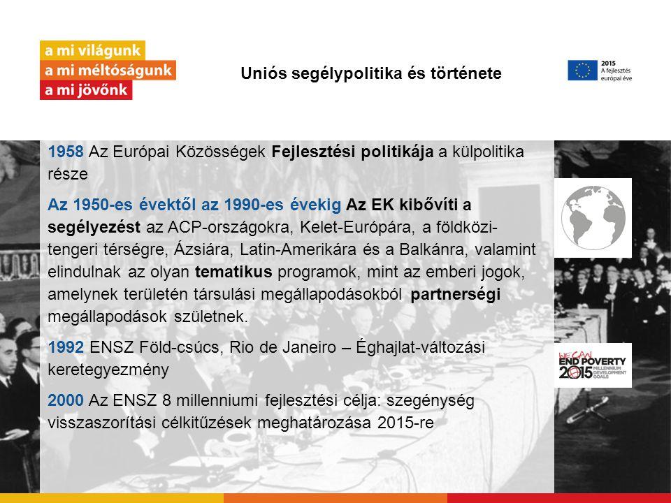 """Uniós segélypolitika és története 2005 Európai konszenzus a fejlesztési politikáról 2011–15 A 2015 utáni fejlesztési programhoz kapcsolódó közlemények 2011 Uniós fejlesztési politika """"Változtatási program """"Változtatási program 2012 Rio+20 a fenntartható fejlődésért 2013 Méltó életet mindenkinekMéltó életet mindenkinek 2014 Globális partnerség a hatékony együttműködésért Mexikóban 2015 Az ENSZ 8 millenniumi fejlesztési céljának határideje!"""