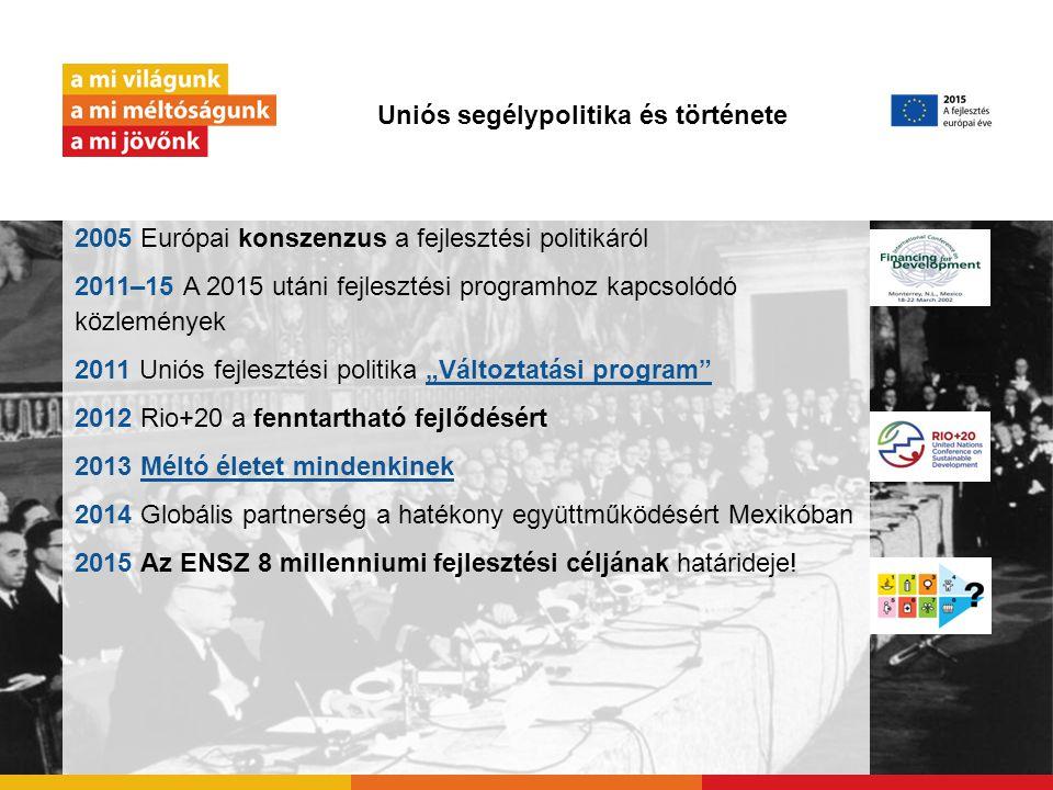 Uniós segélypolitika és története 2005 Európai konszenzus a fejlesztési politikáról 2011–15 A 2015 utáni fejlesztési programhoz kapcsolódó közlemények