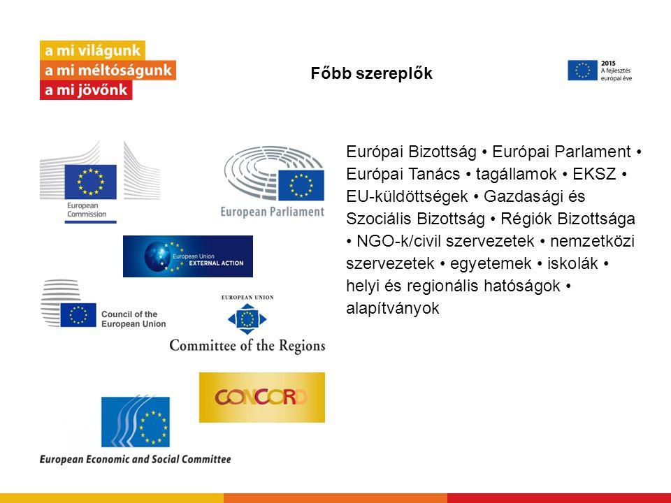 Főbb szereplők Európai Bizottság Európai Parlament Európai Tanács tagállamok EKSZ EU-küldöttségek Gazdasági és Szociális Bizottság Régiók Bizottsága NGO-k/civil szervezetek nemzetközi szervezetek egyetemek iskolák helyi és regionális hatóságok alapítványok