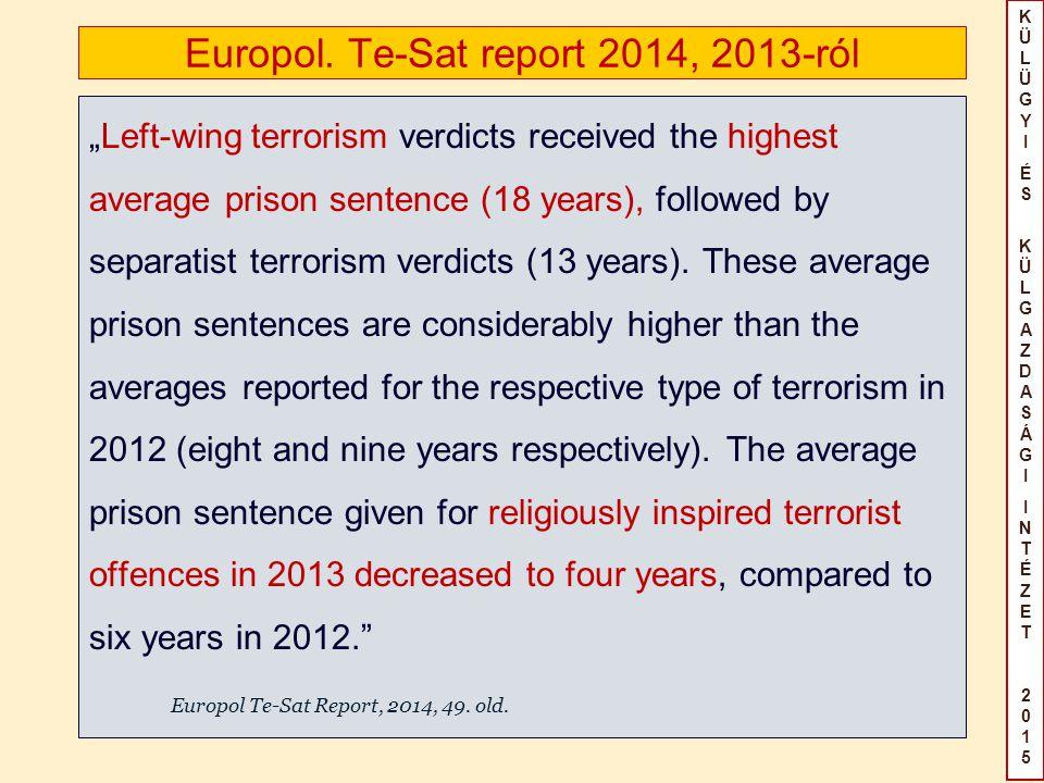 """KÜLÜGYIÉS KÜLGAZDASÁGIINTÉZET2015KÜLÜGYIÉS KÜLGAZDASÁGIINTÉZET2015 Europol. Te-Sat report 2014, 2013-ról """"Left-wing terrorism verdicts received the hi"""