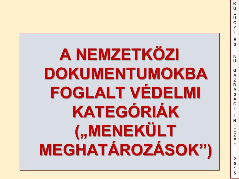"""KÜLÜGYIÉS KÜLGAZDASÁGIINTÉZET2015KÜLÜGYIÉS KÜLGAZDASÁGIINTÉZET2015 A NEMZETKÖZI DOKUMENTUMOKBA FOGLALT VÉDELMI KATEGÓRIÁK (""""MENEKÜLT MEGHATÁROZÁSOK )"""