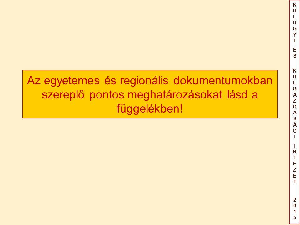 KÜLÜGYIÉS KÜLGAZDASÁGIINTÉZET2015KÜLÜGYIÉS KÜLGAZDASÁGIINTÉZET2015 Az egyetemes és regionális dokumentumokban szereplő pontos meghatározásokat lásd a