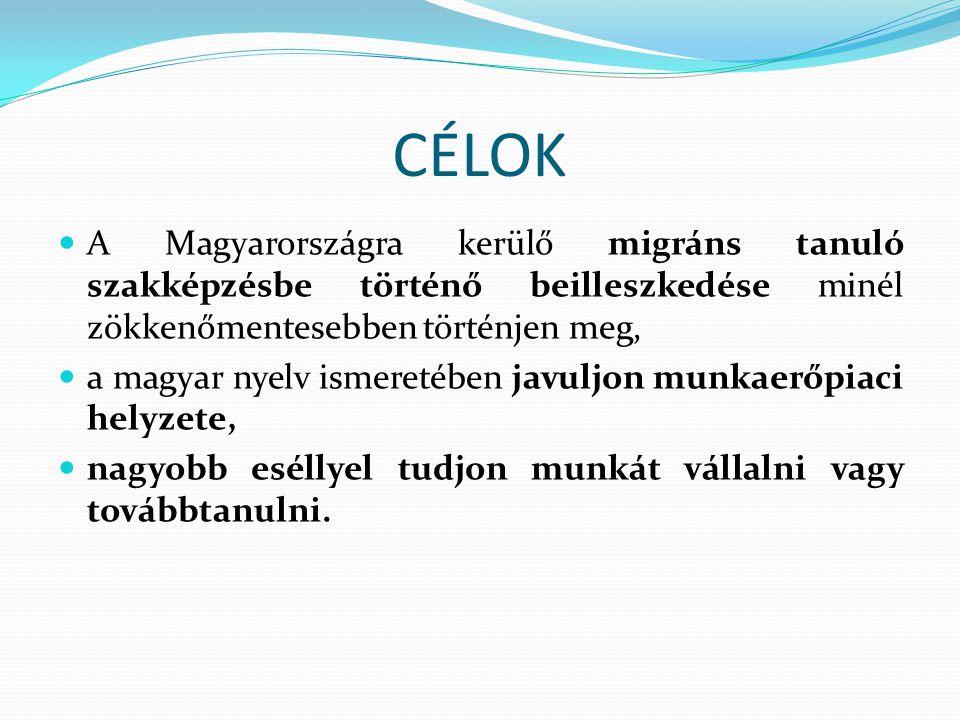 CÉLOK A Magyarországra kerülő migráns tanuló szakképzésbe történő beilleszkedése minél zökkenőmentesebben történjen meg, a magyar nyelv ismeretében ja