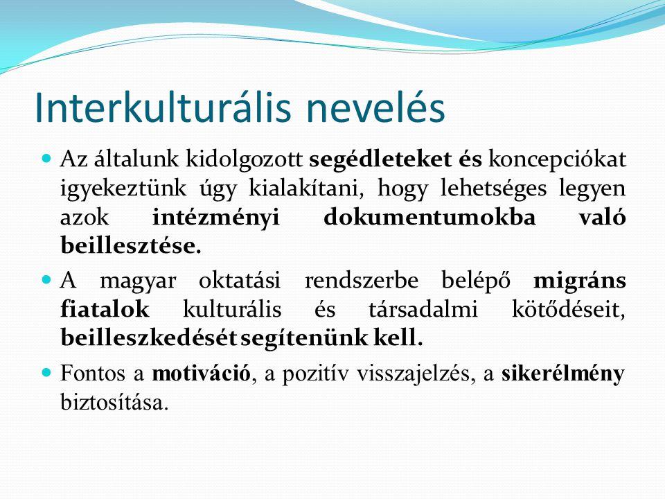 Interkulturális nevelés Az általunk kidolgozott segédleteket és koncepciókat igyekeztünk úgy kialakítani, hogy lehetséges legyen azok intézményi dokum