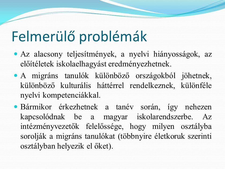 Felmerülő problémák Az alacsony teljesítmények, a nyelvi hiányosságok, az előítéletek iskolaelhagyást eredményezhetnek. A migráns tanulók különböző or