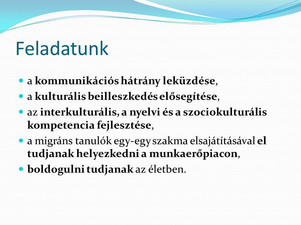 Feladatunk a kommunikációs hátrány leküzdése, a kulturális beilleszkedés elősegítése, az interkulturális, a nyelvi és a szociokulturális kompetencia f