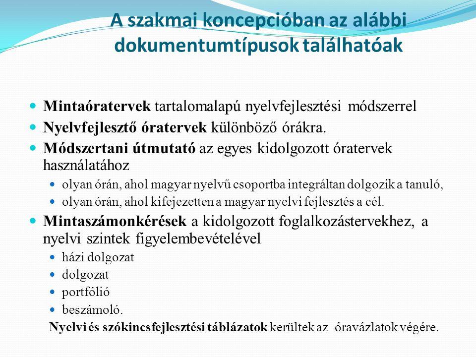 A szakmai koncepcióban az alábbi dokumentumtípusok találhatóak Mintaóratervek tartalomalapú nyelvfejlesztési módszerrel Nyelvfejlesztő óratervek külön