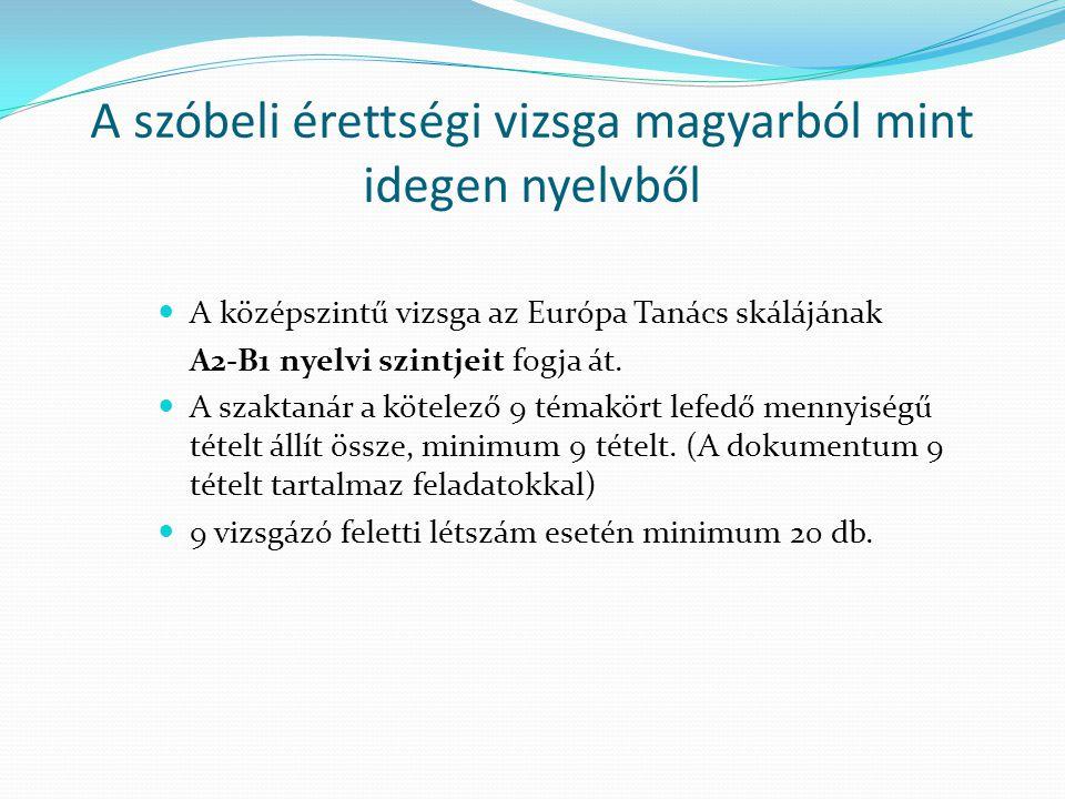 A szóbeli érettségi vizsga magyarból mint idegen nyelvből A középszintű vizsga az Európa Tanács skálájának A2-B1 nyelvi szintjeit fogja át. A szaktaná