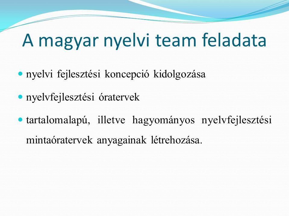 A magyar nyelvi team feladata nyelvi fejlesztési koncepció kidolgozása nyelvfejlesztési óratervek tartalomalapú, illetve hagyományos nyelvfejlesztési