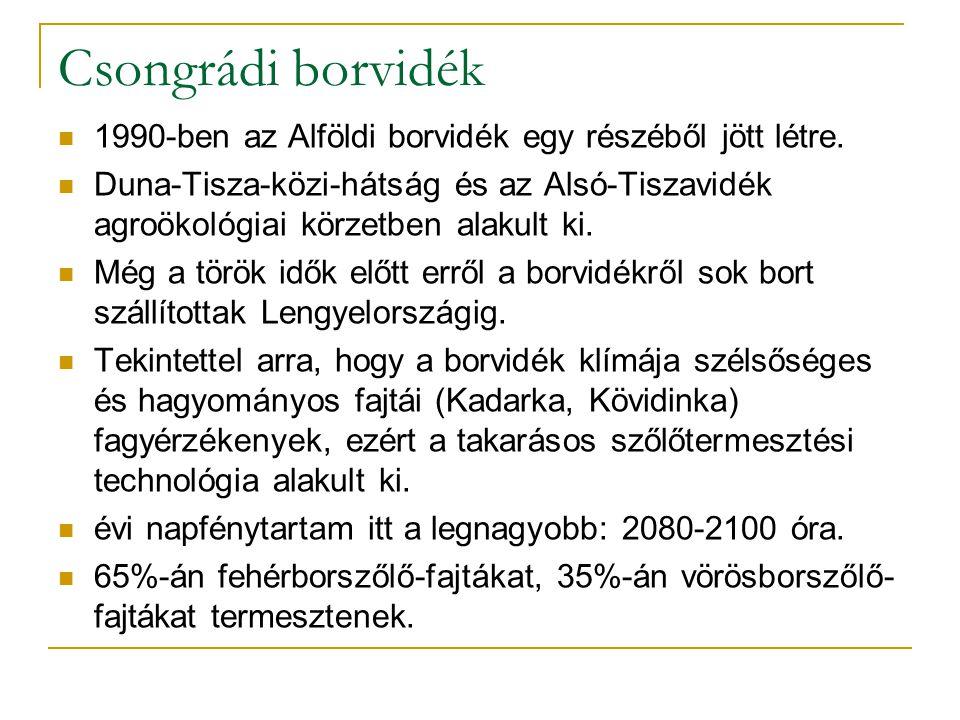 Csongrádi borvidék 1990-ben az Alföldi borvidék egy részéből jött létre. Duna-Tisza-közi-hátság és az Alsó-Tiszavidék agroökológiai körzetben alakult