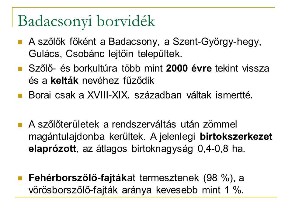 Badacsonyi borvidék A szőlők főként a Badacsony, a Szent-György-hegy, Gulács, Csobánc lejtőin települtek. Szőlő- és borkultúra több mint 2000 évre tek