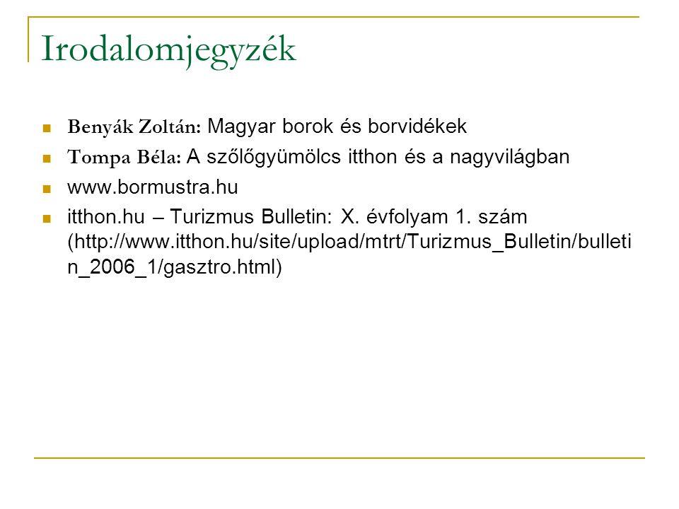 Irodalomjegyzék Benyák Zoltán: Magyar borok és borvidékek Tompa Béla: A szőlőgyümölcs itthon és a nagyvilágban www.bormustra.hu itthon.hu – Turizmus B