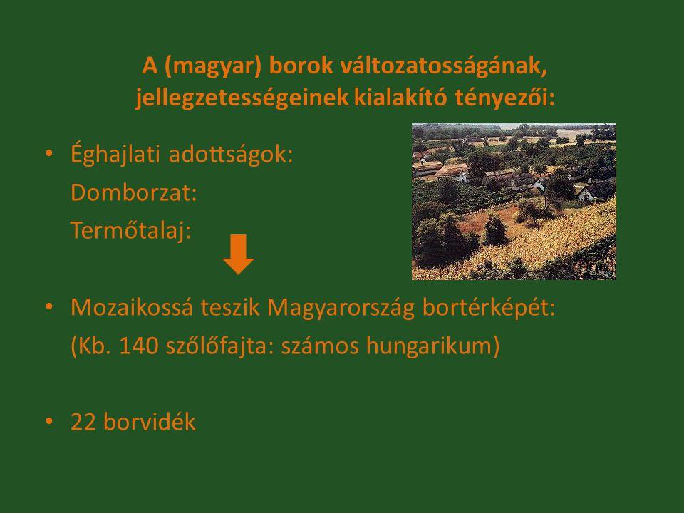 A (magyar) borok változatosságának, jellegzetességeinek kialakító tényezői: Éghajlati adottságok: Domborzat: Termőtalaj: Mozaikossá teszik Magyarorszá