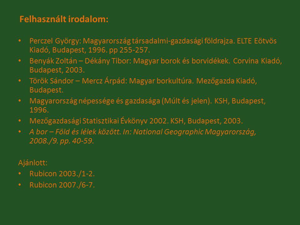 Felhasznált irodalom: Perczel György: Magyarország társadalmi-gazdasági földrajza. ELTE Eötvös Kiadó, Budapest, 1996. pp 255-257. Benyák Zoltán – Déká