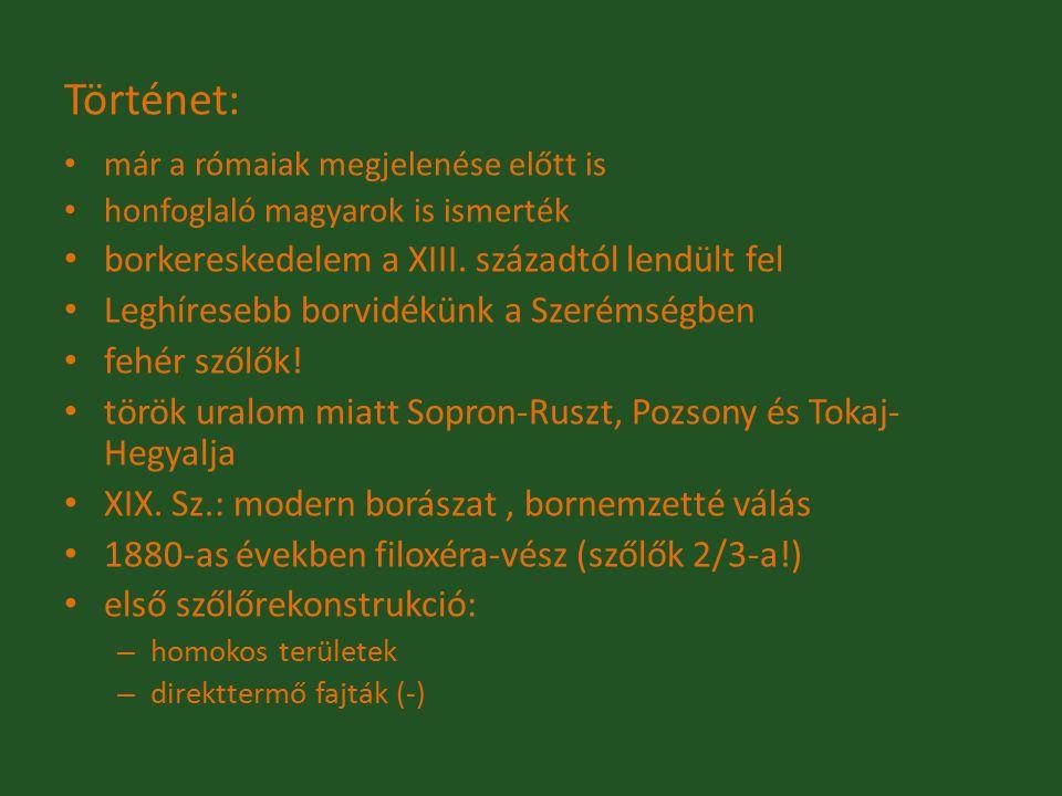 Történet: már a rómaiak megjelenése előtt is honfoglaló magyarok is ismerték borkereskedelem a XIII. századtól lendült fel Leghíresebb borvidékünk a S