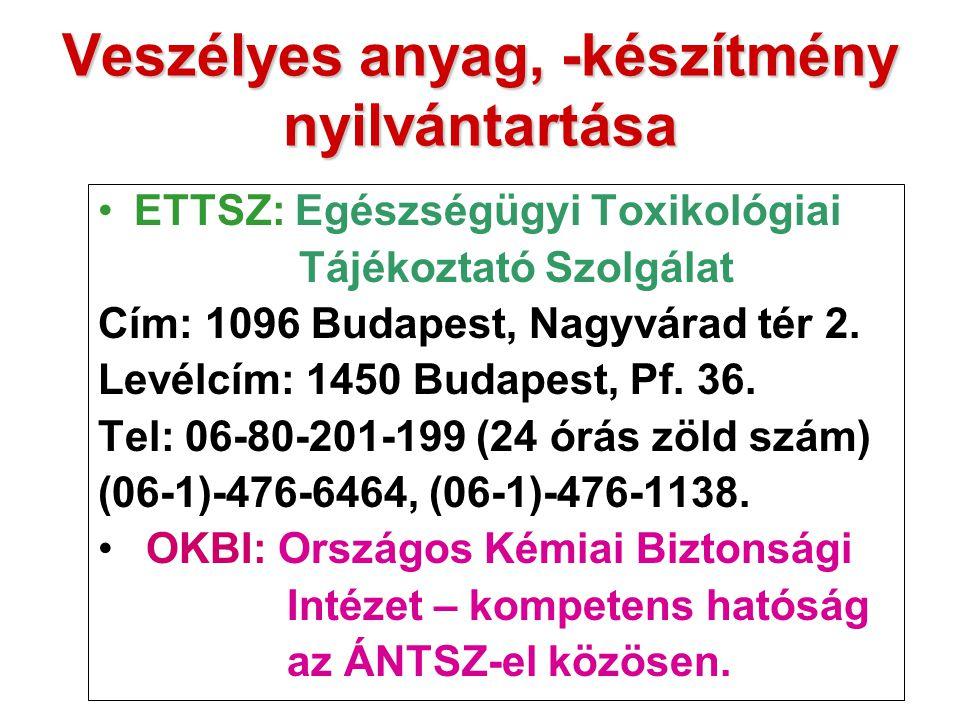 Veszélyes anyag, -készítmény nyilvántartása ETTSZ: Egészségügyi Toxikológiai Tájékoztató Szolgálat Cím: 1096 Budapest, Nagyvárad tér 2. Levélcím: 1450
