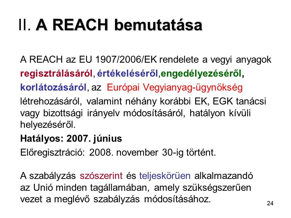24 A REACH bemutatása II. A REACH bemutatása A REACH az EU 1907/2006/EK rendelete a vegyi anyagok regisztrálásáról, értékeléséről,engedélyezéséről, ko