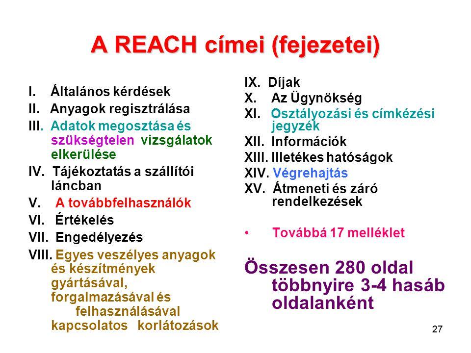 27 A REACH címei (fejezetei) I. Általános kérdések II. Anyagok regisztrálása III. Adatok megosztása és szükségtelen vizsgálatok elkerülése IV. Tájékoz