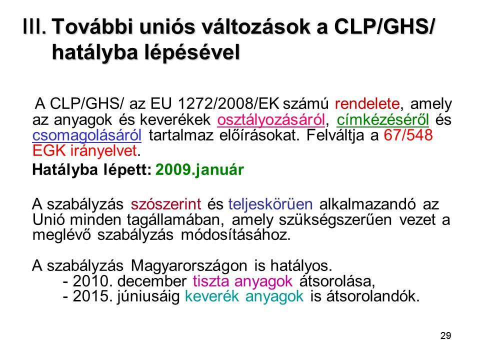 29 III. További uniós változások a CLP/GHS/ hatályba lépésével A CLP/GHS/ az EU 1272/2008/EK számú rendelete, amely az anyagok és keverékek osztályozá