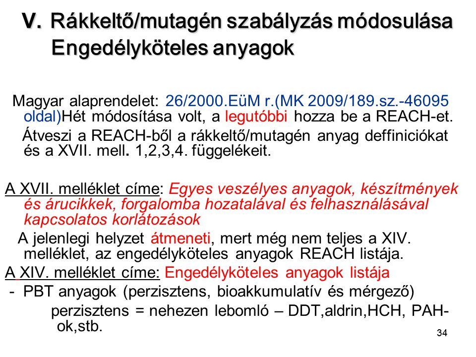 34 V. Rákkeltő/mutagén szabályzás módosulása Engedélyköteles anyagok Magyar alaprendelet: 26/2000.EüM r.(MK 2009/189.sz.-46095 oldal)Hét módosítása vo