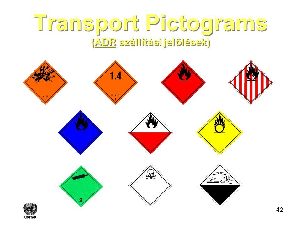 42 Transport Pictograms (ADR szállítási jelölések)