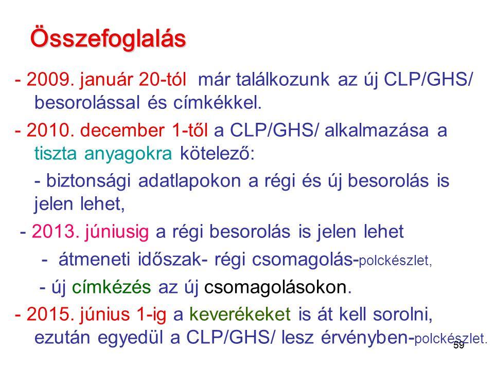 59 Összefoglalás - 2009. január 20-tól már találkozunk az új CLP/GHS/ besorolással és címkékkel. - 2010. december 1-től a CLP/GHS/ alkalmazása a tiszt