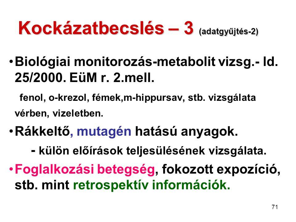 71 Kockázatbecslés – 3 (adatgyűjtés-2) Biológiai monitorozás-metabolit vizsg.- ld. 25/2000. EüM r. 2.mell. fenol, o-krezol, fémek,m-hippursav, stb. vi