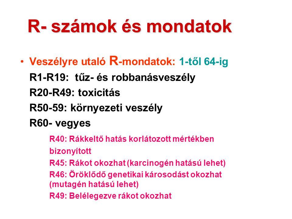 R- számok és mondatok Veszélyre utaló R -mondatok: 1-től 64-ig R1-R19: tűz- és robbanásveszély R20-R49: toxicitás R50-59: környezeti veszély R60- vegy