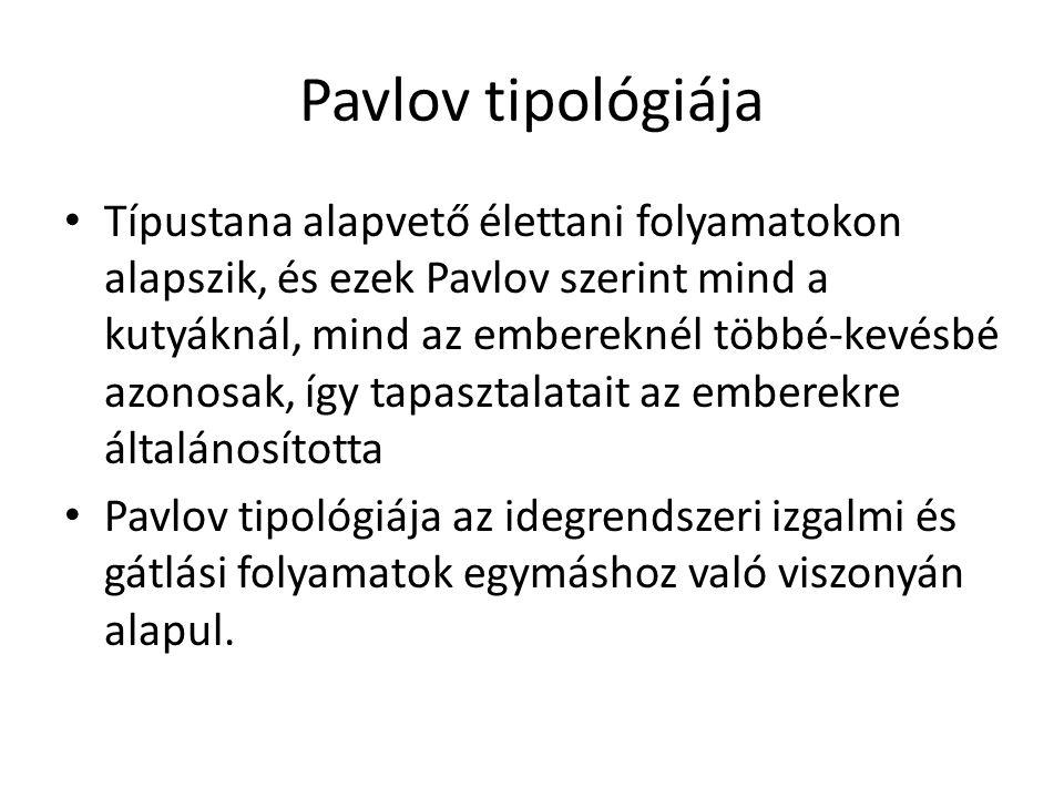 Pavlov tipológiája Típustana alapvető élettani folyamatokon alapszik, és ezek Pavlov szerint mind a kutyáknál, mind az embereknél többé-kevésbé azonosak, így tapasztalatait az emberekre általánosította Pavlov tipológiája az idegrendszeri izgalmi és gátlási folyamatok egymáshoz való viszonyán alapul.