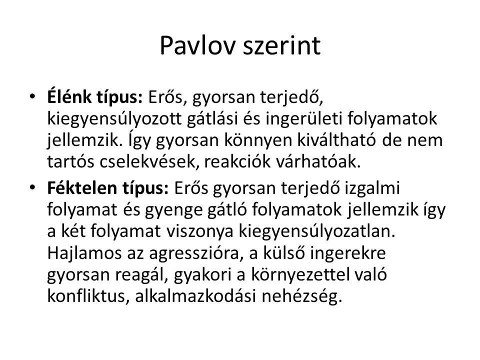 Pavlov szerint Élénk típus: Erős, gyorsan terjedő, kiegyensúlyozott gátlási és ingerületi folyamatok jellemzik. Így gyorsan könnyen kiváltható de nem