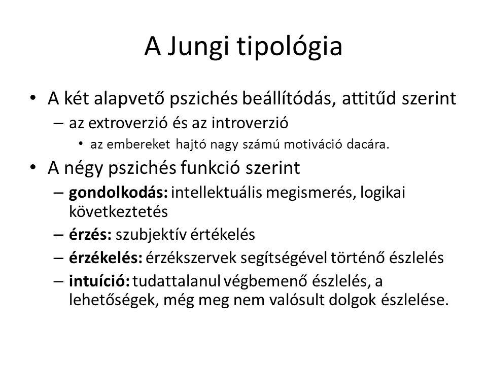 A Jungi tipológia A két alapvető pszichés beállítódás, attitűd szerint – az extroverzió és az introverzió az embereket hajtó nagy számú motiváció dacá