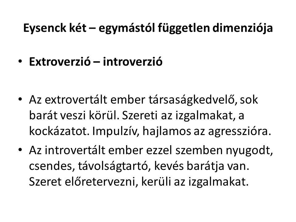 Eysenck két – egymástól független dimenziója Extroverzió – introverzió Az extrovertált ember társaságkedvelő, sok barát veszi körül. Szereti az izgalm