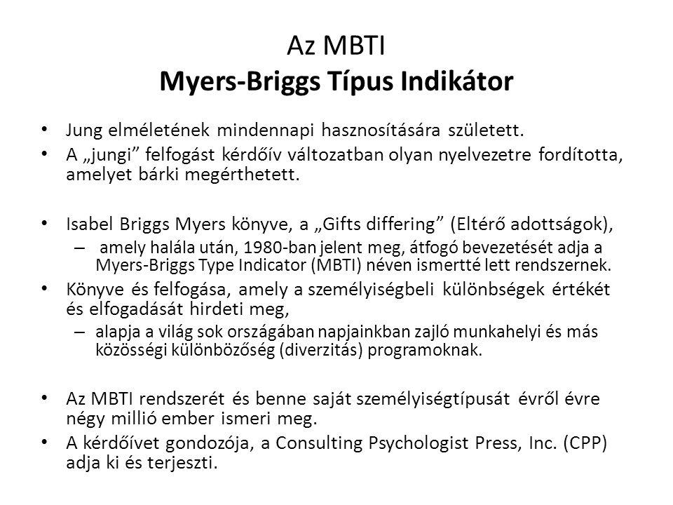 """Az MBTI Myers-Briggs Típus Indikátor Jung elméletének mindennapi hasznosítására született. A """"jungi"""" felfogást kérdőív változatban olyan nyelvezetre f"""