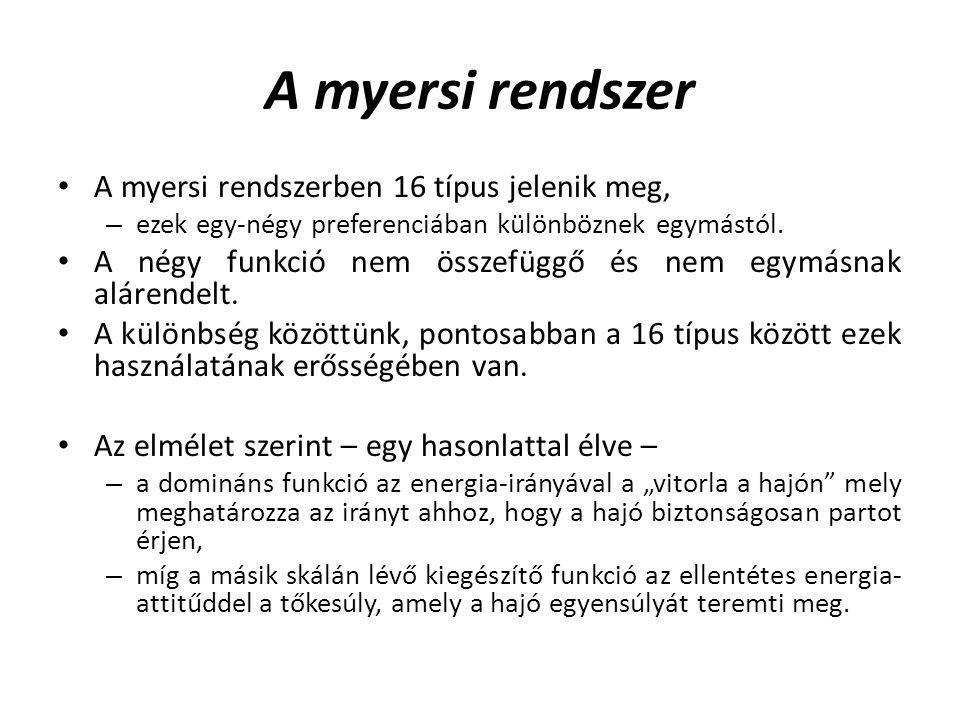 A myersi rendszer A myersi rendszerben 16 típus jelenik meg, – ezek egy-négy preferenciában különböznek egymástól. A négy funkció nem összefüggő és ne